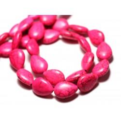 Fil 39cm 22pc env - Perles de Pierre Turquoise Synthèse Gouttes 18x14mm Rose