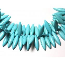 Fil 39cm 120pc env - Perles de Pierre Turquoise Synthèse Marquises 28mm Bleu Turquoise