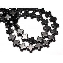 Fil 39cm 49pc env - Perles de Pierre Turquoise Synthèse Croix 8mm Noir