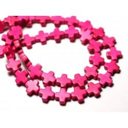 Fil 39cm 49pc env - Perles de Pierre Turquoise Synthèse Croix 8mm Rose Fluo