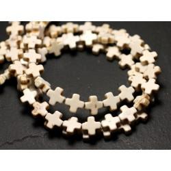 Fil 39cm 49pc env - Perles de Pierre Turquoise Synthèse Croix 8mm Blanc