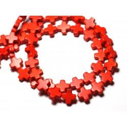 Fil 39cm 49pc env - Perles de Pierre Turquoise Synthèse Croix 8mm Orange