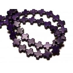Fil 39cm 49pc env - Perles de Pierre Turquoise Synthèse Croix 8mm Violet