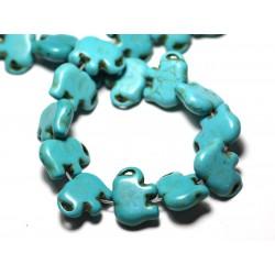Fil 39cm 27pc env - Perles de Pierre Turquoise Synthèse Éléphant 19mm Bleu Turquoise