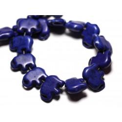 Fil 39cm 27pc env - Perles de Pierre Turquoise Synthèse Éléphant 19mm Bleu nuit
