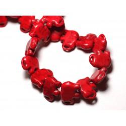 Fil 39cm 27pc env - Perles de Pierre Turquoise Synthèse Éléphant 19mm Rouge