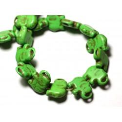 Fil 39cm 27pc env - Perles de Pierre Turquoise Synthèse Éléphant 19mm Vert