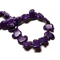 Fil 39cm 27pc env - Perles de Pierre Turquoise Synthèse Éléphant 19mm Violet