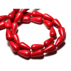 Fil 39cm 26pc env - Perles de Pierre Turquoise Synthèse Gouttes 14mm Rouge