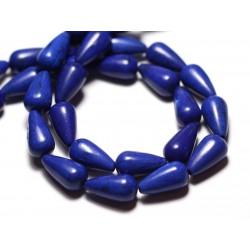 Fil 39cm 26pc env - Perles de Pierre Turquoise Synthèse Gouttes 14mm Bleu nuit