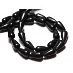 Fil 39cm 26pc env - Perles de Pierre Turquoise Synthèse Gouttes 14mm Noir