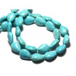 Fil 39cm 28pc env - Perles de Pierre Turquoise Synthèse Gouttes 14x10mm Bleu Turquoise