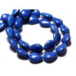 Fil 39cm 28pc env - Perles de Pierre Turquoise Synthèse Gouttes 14x10mm Bleu nuit