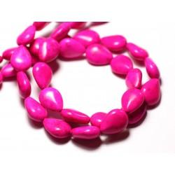Fil 39cm 28pc env - Perles de Pierre Turquoise Synthèse Gouttes 14x10mm Rose