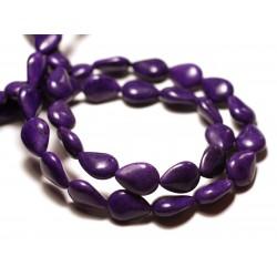 Fil 39cm 28pc env - Perles de Pierre Turquoise Synthèse Gouttes 14x10mm Violet