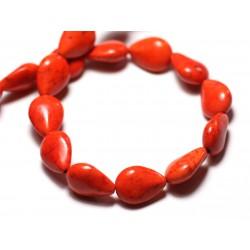 Fil 39cm 28pc env - Perles de Pierre Turquoise Synthèse Gouttes 14x10mm Orange