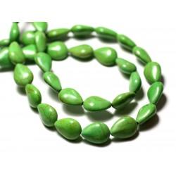 Fil 39cm 28pc env - Perles de Pierre Turquoise Synthèse Gouttes 14x10mm Vert
