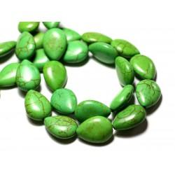 Fil 39cm 22pc env - Perles de Pierre Turquoise Synthèse Gouttes 18x14mm Vert