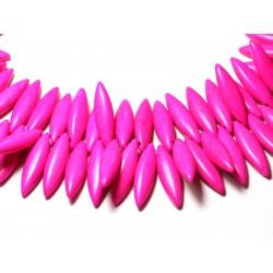 Fil 39cm 120pc env - Perles de Pierre Turquoise Synthèse Marquises 28mm Rose