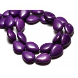 Fil 39cm 22pc env - Perles de Pierre Turquoise Synthèse Gouttes 18x14mm Violet