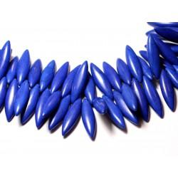 Fil 39cm 120pc env - Perles de Pierre Turquoise Synthèse Marquises 28mm Bleu nuit