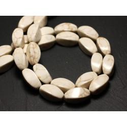 Fil 39cm 21pc env - Perles de Pierre Turquoise Synthèse Olives Torsades twist 18mm Blanc