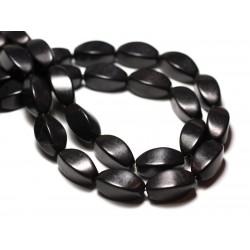 Fil 39cm 21pc env - Perles de Pierre Turquoise Synthèse Olives Torsades twist 18mm Noir
