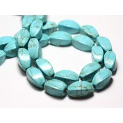 Fil 39cm 21pc env - Perles de Pierre Turquoise Synthèse Olives Torsades twist 18mm Bleu Turquoise