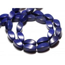 Fil 39cm 21pc env - Perles de Pierre Turquoise Synthèse Olives Torsades twist 18mm Bleu nuit