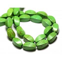 Fil 39cm 21pc env - Perles de Pierre Turquoise Synthèse Olives Torsades twist 18mm Vert