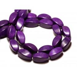 Fil 39cm 21pc env - Perles de Pierre Turquoise Synthèse Olives Torsades twist 18mm Violet