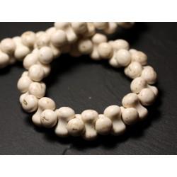 Fil 39cm 67pc env - Perles de Pierre Turquoise Synthèse Os Osselets 14x8mm Blanc