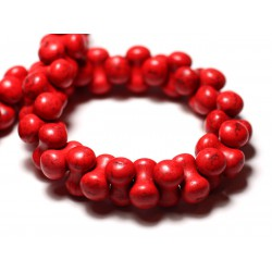 Fil 39cm 67pc env - Perles de Pierre Turquoise Synthèse Os Osselets 14x8mm Rouge