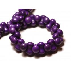 Fil 39cm 67pc env - Perles de Pierre Turquoise Synthèse Os Osselets 14x8mm Violet