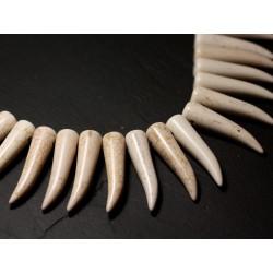 Fil 39cm 39pc env - Perles de Pierre Turquoise Synthèse Piment Corne Dent 40mm Blanc