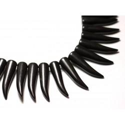 Fil 39cm 39pc env - Perles de Pierre Turquoise Synthèse Piment Corne Dent 40mm Noir