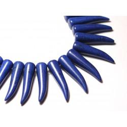 Fil 39cm 39pc env - Perles de Pierre Turquoise Synthèse Piment Corne Dent 40mm Bleu nuit