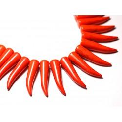 Fil 39cm 39pc env - Perles de Pierre Turquoise Synthèse Piment Corne Dent 40mm Orange