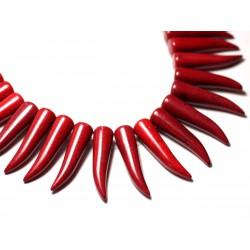 Fil 39cm 39pc env - Perles de Pierre Turquoise Synthèse Piment Corne Dent 40mm Rouge Bordeaux