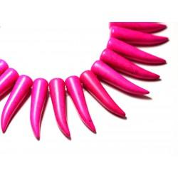 Fil 39cm 39pc env - Perles de Pierre Turquoise Synthèse Piment Corne Dent 40mm Rose