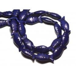 Fil 39cm 16pc env - Perles de Pierre Turquoise Synthèse Poissons 24mm Bleu nuit
