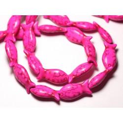 Fil 39cm 16pc env - Perles de Pierre Turquoise Synthèse Poissons 24mm Rose