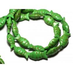 Fil 39cm 16pc env - Perles de Pierre Turquoise Synthèse Poissons 24mm Vert
