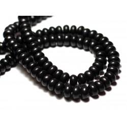 Fil 39cm 81pc env - Perles de Pierre Turquoise Synthèse Rondelles 8x5mm Noir