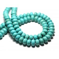 Fil 39cm 81pc env - Perles de Pierre Turquoise Synthèse Rondelles 8x5mm Bleu Turquoise