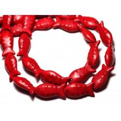 Fil 39cm 16pc env - Perles de Pierre Turquoise Synthèse Poissons 24mm Rouge
