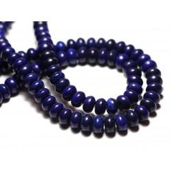 Fil 39cm 81pc env - Perles de Pierre Turquoise Synthèse Rondelles 8x5mm Bleu nuit