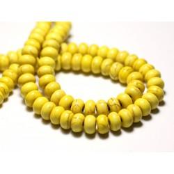 Fil 39cm 81pc env - Perles de Pierre Turquoise Synthèse Rondelles 8x5mm Jaune