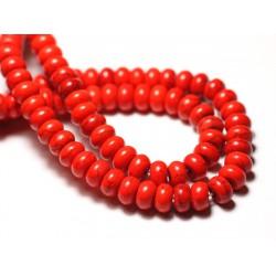 Fil 39cm 81pc env - Perles de Pierre Turquoise Synthèse Rondelles 8x5mm Orange