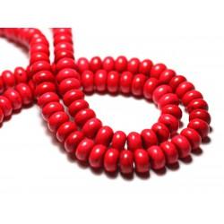 Fil 39cm 81pc env - Perles de Pierre Turquoise Synthèse Rondelles 8x5mm Rouge